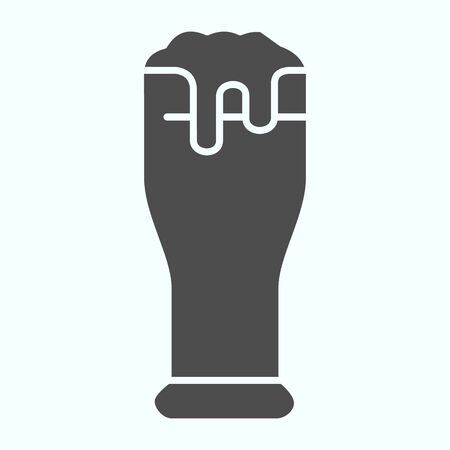 Beer glass solid icon. Glass with beer and foam vector illustration isolated on white. Beer glyph style design, designed for web and app. Eps 10.
