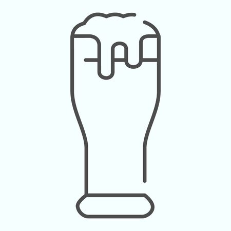 Beer glass thin line icon. Glass with beer and foam vector illustration isolated on white. Beer outline style design, designed for web and app. Eps 10.