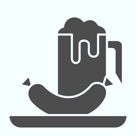 Beer and sausage solid icon. Glass of beer and sausage on a plate vector illustration isolated on white. Sausage snack with beer glyph style design, designed for web and app. Eps 10. Ilustração