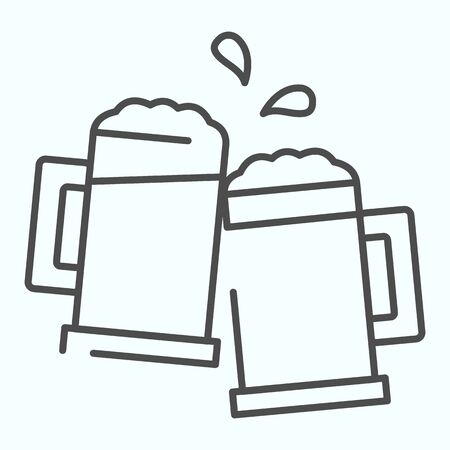Mugs thin line icon. Mugs with beer vector illustration isolated on white. Two holding beer glasses outline style design, designed for web and app. Eps 10. Ilustração