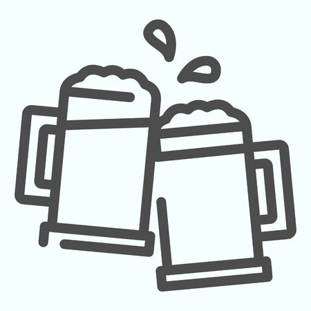 Mugs line icon. Mugs with beer vector illustration isolated on white. Two holding beer glasses outline style design, designed for web and app. Eps 10.