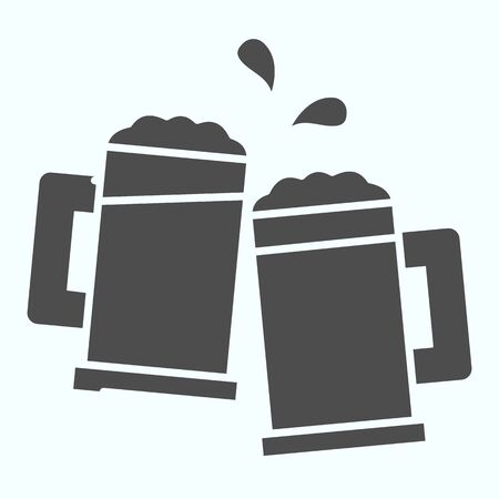 Mugs solid icon. Mugs with beer vector illustration isolated on white. Two holding beer glasses glyph style design, designed for web and app. Eps 10.