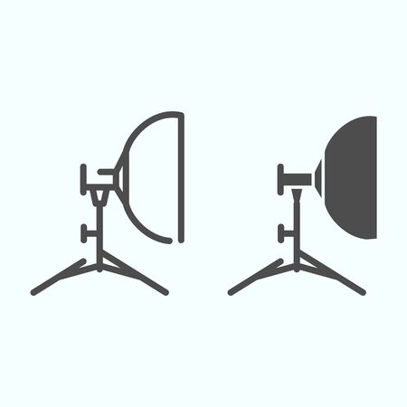 Floodlight line and solid icon. Lamp to power light for photography vector illustration isolated on white. Spotlight outline style design, designed for web and app.