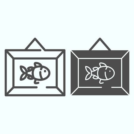 Wall picture decoration line and solid icon. Hanging frame vector illustration isolated on white. Picture with fish on the wall outline style design, designed for web and app.