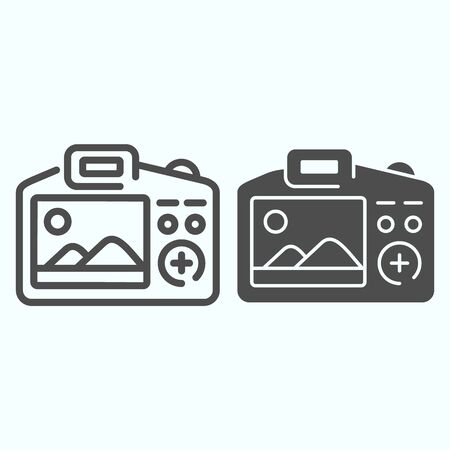 Camera Display line and solid icon. Display of camera vector illustration isolated on white. Photo camera screen outline style design, designed for web and app.