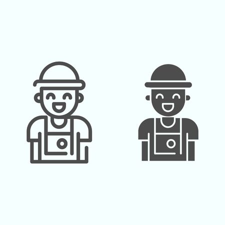 Photographer line and solid icon. Person who make photos vector illustration isolated on white. Photographer with camera outline style design, designed for web and app.