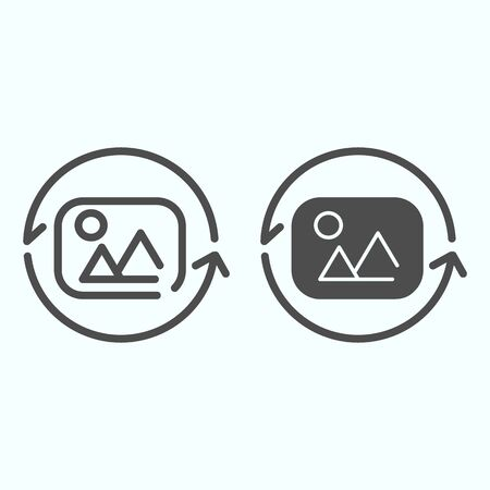Image Rotation line and solid icon. Photo rotation vector illustration isolated on white. Picture and arrows around it outline style design, designed for web and app. Ilustração