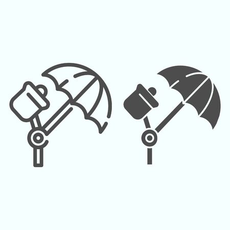 Studio illumination line and solid icon. Studio lights vector illustration isolated on white. Spotlight umbrella outline style design, designed for web and app.