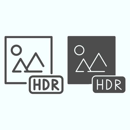 HDR line and solid icon. Picture with HDR vector illustration isolated on white. HDR image file outline style design, designed for web and app.