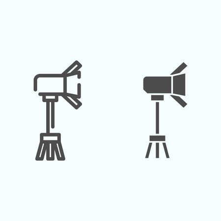 Spotlight line and solid icon. Lamp to power light for photography vector illustration isolated on white. Floodlight outline style design, designed for web and app.
