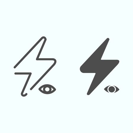 Camera Flash line and solid icon. Camera or phone flash vector illustration isolated on white. Light of camera outline style design, designed for web and app.  イラスト・ベクター素材