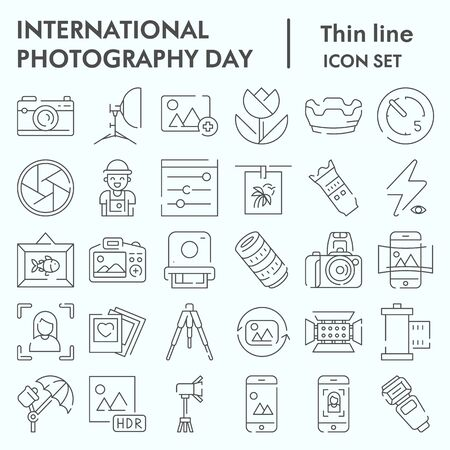 International photography day thin line icon set, photography set symbols collection, vector sketches, logo illustrations, computer web signs linear pictograms package isolated on white background,