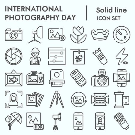 International photography day line icon set, photography set symbols collection, vector sketches, logo illustrations, computer web signs linear pictograms package isolated on white background,