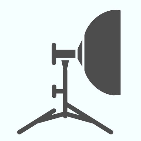 Floodlight solid icon. Lamp to power light for photography vector illustration isolated on white. Spotlight glyph style design, designed for web and app. Ilustracja