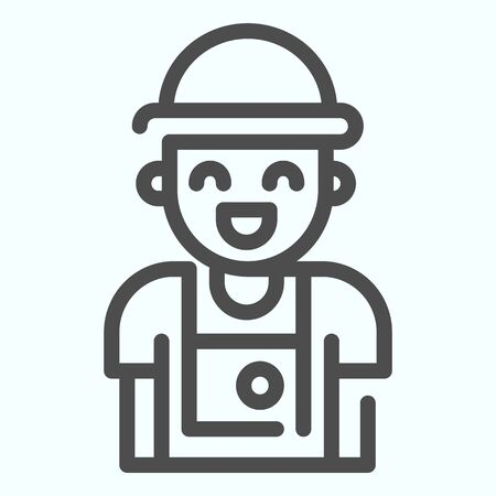 Photographer line icon. Person who make photos vector illustration isolated on white. Photographer with camera outline style design, designed for web and app.