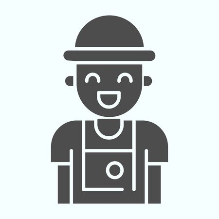 Photographer solid icon. Person who make photos vector illustration isolated on white. Photographer with camera glyph style design, designed for web and app. Ilustracja