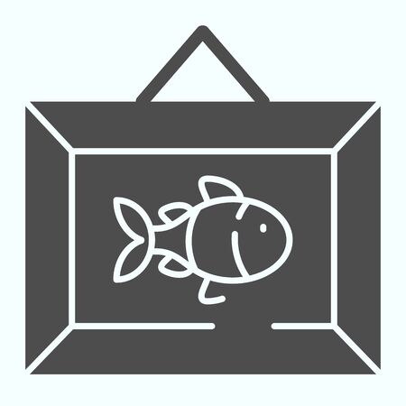 Wall picture decoration solid icon. Hanging frame vector illustration isolated on white. Picture with fish on the wall glyph style design, designed for web and app.