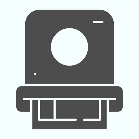 Camera photo printing solid icon. Camera with photo vector illustration isolated on white. Photo printing from camera glyph style design, designed for web and app.