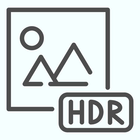 HDR line icon. Picture with HDR vector illustration isolated on white. HDR image file outline style design, designed for web and app.