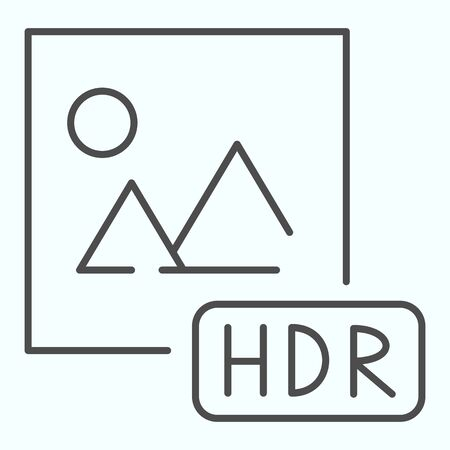 HDR thin line icon. Picture with HDR vector illustration isolated on white. HDR image file outline style design, designed for web and app. 向量圖像