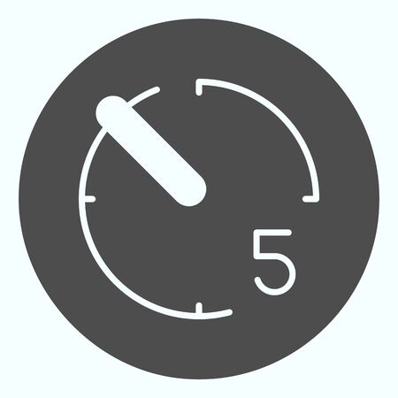 Timer solid icon. Stopwatch vector illustration isolated on white. Timer with number five glyph style design, designed for web and app.