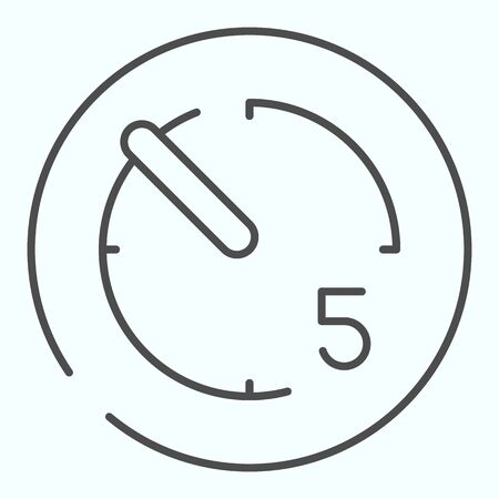 Timer thin line icon. Stopwatch vector illustration isolated on white. Timer with number five outline style design, designed for web and app.
