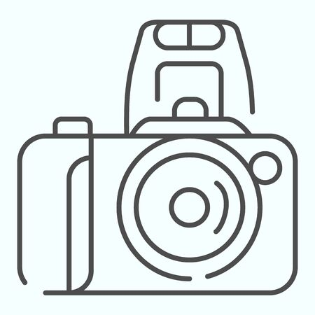 Camera thin line icon. Device to record photo vector illustration isolated on white. Photo camera outline style design, designed for web and app. Ilustracja