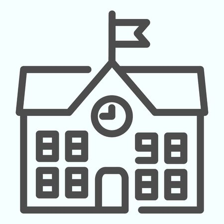 School line icon. School building vector illustration isolated on white. Building with clock and flag outline style design, designed for web and app. Eps 10.