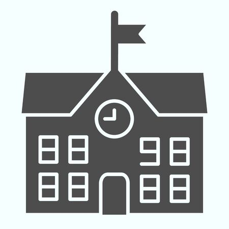 School solid icon. School building vector illustration isolated on white. Building with clock and flag glyph style design, designed for web and app. Eps 10. Illusztráció