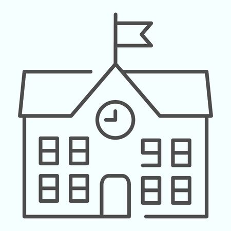 School thin line icon. School building vector illustration isolated on white. Building with clock and flag outline style design, designed for web and app. Eps 10. Illusztráció