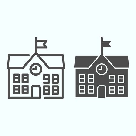 School line and solid icon. School building vector illustration isolated on white. Building with clock and flag outline style design, designed for web and app. Eps 10. Illusztráció
