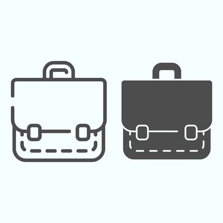Portfolio line and solid icon. School bag vector illustration isolated on white. Suitcase outline style design, designed for web and app. Eps 10. Illusztráció
