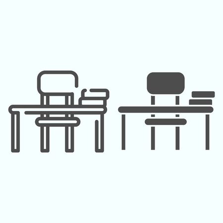 Study Desk line and solid icon. Table and chair vector illustration isolated on white. School Desk outline style design, designed for web and app. Eps 10.