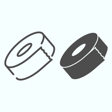 Adhesive tape line and solid icon. Scotch vector illustration isolated on white. Roll of tape outline style design, designed for web and app. Eps 10.