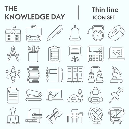 Knowledge day thin line icon set, School set symbols collection, vector sketches, logo illustrations, computer web signs linear pictograms package isolated on white background, eps 10.
