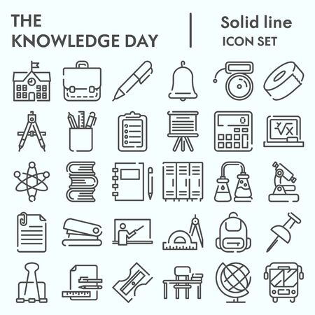Knowledge day line icon set, School set symbols collection, vector sketches, logo illustrations, computer web signs linear pictograms package isolated on white background, eps 10.