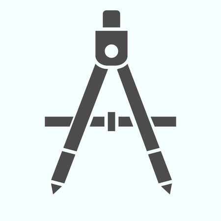 Geometry compass solid icon. School instrument for drawing circle vector illustration isolated on white. Divider glyph style design, designed for web and app. Eps 10.