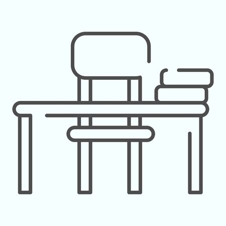 Study Desk thin line icon. Table and chair vector illustration isolated on white. School Desk outline style design, designed for web and app. Eps 10.