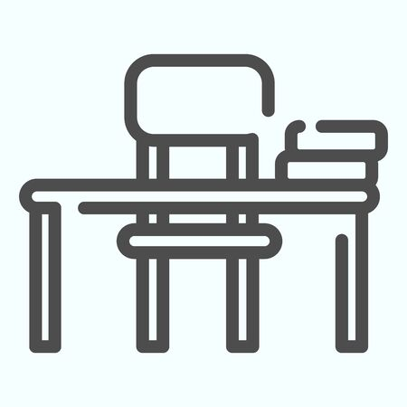 Study Desk line icon. Table and chair vector illustration isolated on white. School Desk outline style design, designed for web and app. Eps 10.