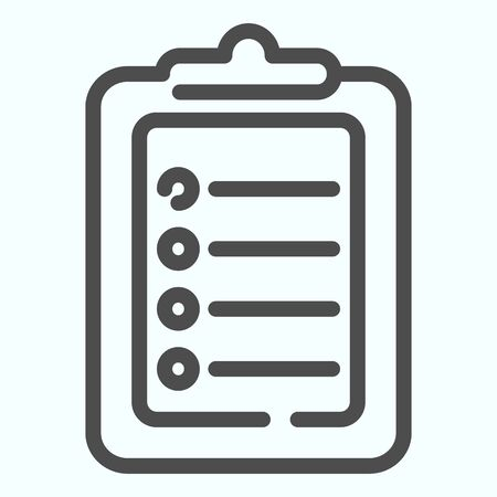 Test line icon. Document with pointers vector illustration isolated on white. Checklist outline style design, designed for web and app. Eps 10.