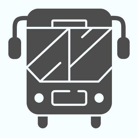 School bus solid icon. Bus front side vector illustration isolated on white. Bus sign glyph style design, designed for web and app. Eps 10. Ilustração