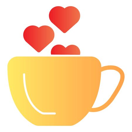 Cup with heart flat icon. Romantic Coffee cup illustration isolated on white. Hot drink cup with a heart shape steaming gradient style design, designed for web and app. Eps 10.