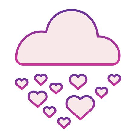 Hearts in rainy cloud flat icon. Romantic love rain illustration isolated on white. Cloud raining heart shapes gradient style design, designed for web and app. Eps 10. Ilustracja