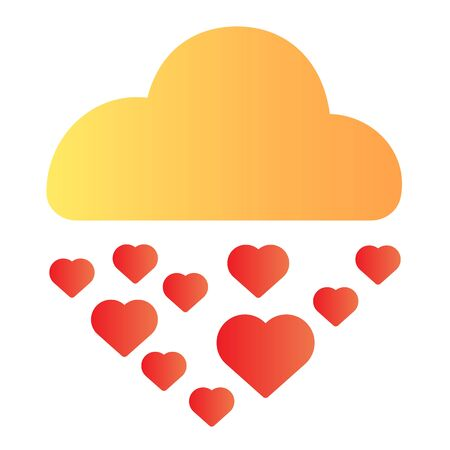 Hearts in rainy cloud flat icon. Romantic love rain illustration isolated on white. Cloud raining heart shapes gradient style design, designed for web and app. Eps 10. Illustration