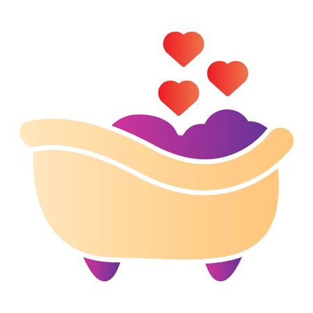 Romantic Bathtub flat icon. Romantic Bathroom with heart favorite foam illustration isolated on white. Bath with foam and heart bubbles gradient style design, designed for web and app. Eps 10.