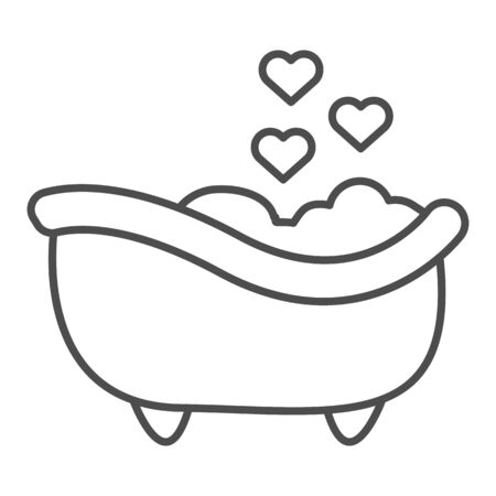 Romantic Bathtub thin line icon. Romantic Bathroom with heart favorite foam illustration isolated on white. Bath with foam and heart bubbles outline style design, designed for web and app. Eps 10. Vettoriali