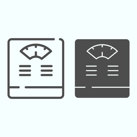 Floor scales line and solid icon. Bathroom scales vector illustration isolated on white. Weighing-machine outline style design, designed for web and app. Eps 10