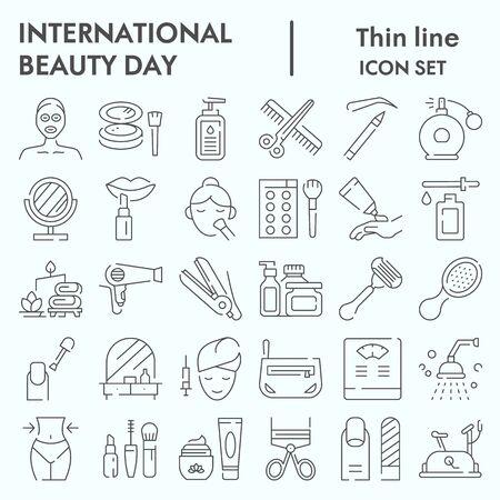 Insieme dell'icona di linea sottile giornata internazionale di bellezza, insieme di simboli set cosmetico, abbozzi di vettore, illustrazioni di logo, pacchetto di pittogrammi lineari di computer web segni isolato su sfondo bianco, eps 10