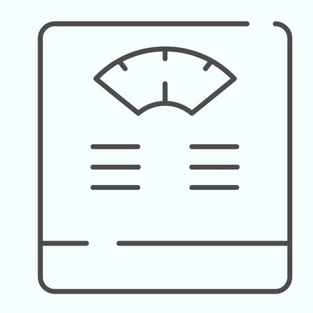 Floor scales thin line icon. Bathroom scales vector illustration isolated on white. Weighing-machine outline style design, designed for web and app. Eps 10.