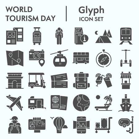 Ensemble d'icônes de glyphe de la journée mondiale du tourisme, collection de symboles de voyage, croquis vectoriels, illustrations de logo, paquet de pictogrammes solides de signes web d'ordinateur isolé sur fond blanc, eps 10. Logo